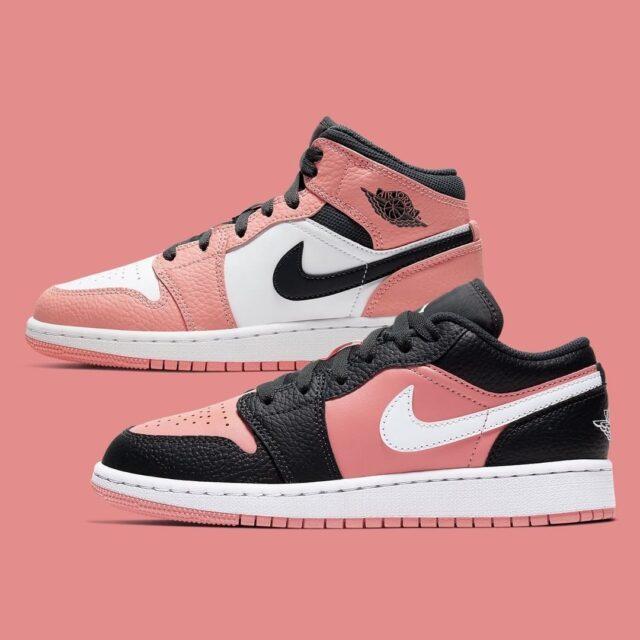 "Nike Air Jordan 1 Mid, Low GS ""Pink Quartz"" (ナイキ エア ジョーダン 1 ミッド, ロー GS ""ピンク クォーツ"") 555112-603, 554723-016"