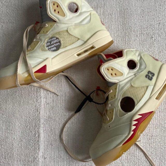 "Off-White × Nike Air Jordan 5 ""Sail"" (オフホワイト × ナイキ エア ジョーダン 5 ""セイル"") CT8480-100"