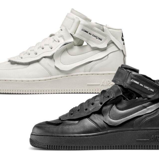 コム・デ・ギャルソン ナイキ コラボ エア フォース 1 ミッド Comme des Garcons Nike Air Force 1 Mid white black 2 colors
