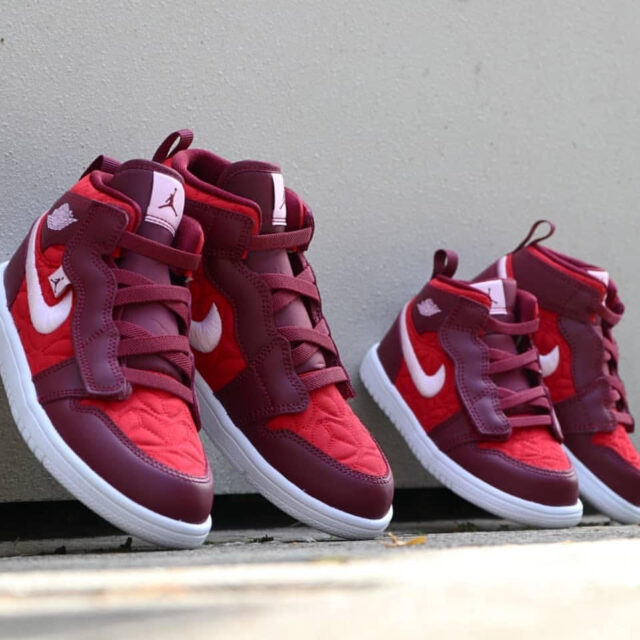 ナイキ エア ジョーダン 1 レッド キルト Nike Air Jordan 1 Mid Red Quilt AV5174-600, DB3619-600 front pair ps td