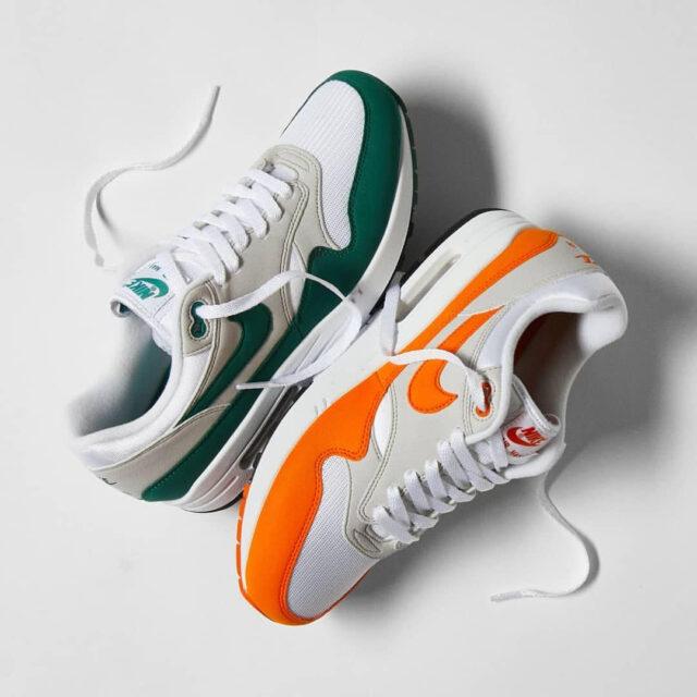 "Nike Air Max 1 Anniversary ""Evergreen"" ""Magma Orange"" (ナイキ エア マックス 1 アニバーサリー ""エバーグリーン"" ""マグマ オレンジ"") DC1454-100, DC1454-101"