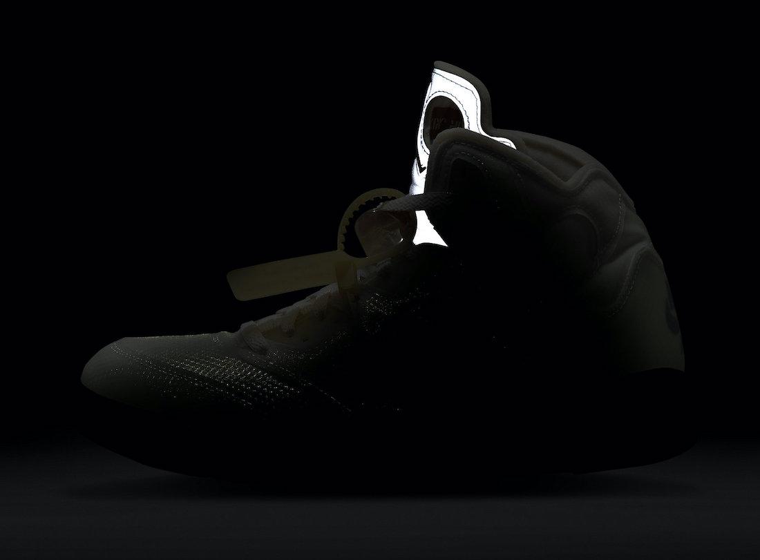 オフホワイト ナイキ コラボ エア ジョーダン 5 セイル Off-White Nike Air Jordan 5 Sail Fire Red DH8565-100 side in the dark