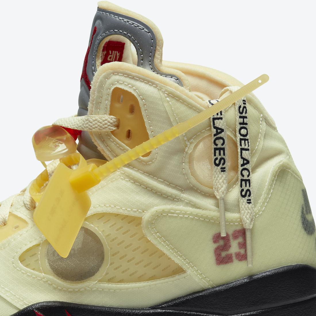 オフホワイト ナイキ コラボ エア ジョーダン 5 セイル Off-White Nike Air Jordan 5 Sail Fire Red DH8565-100 side close
