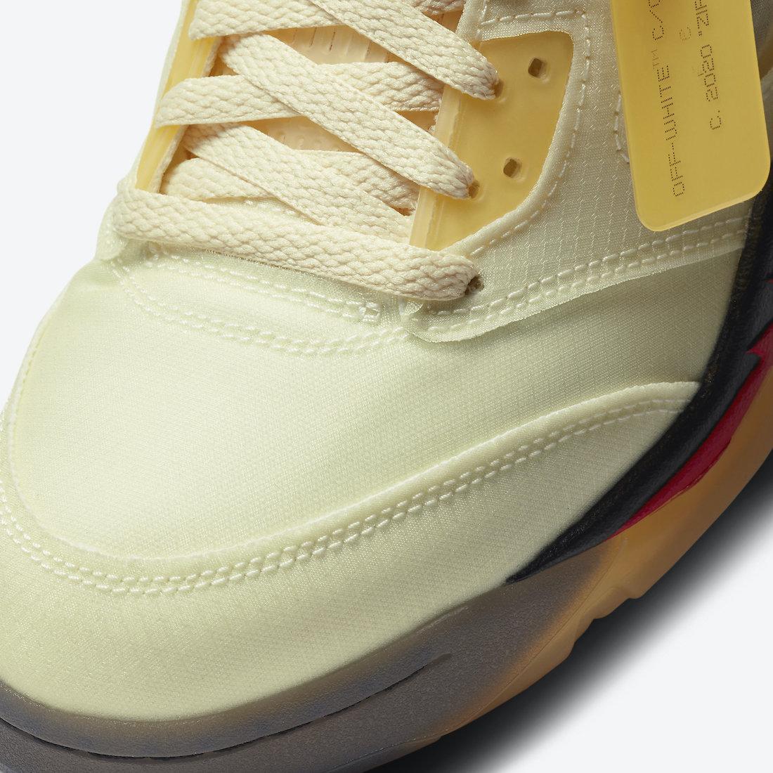 オフホワイト ナイキ コラボ エア ジョーダン 5 セイル Off-White Nike Air Jordan 5 Sail Fire Red DH8565-100 close toe