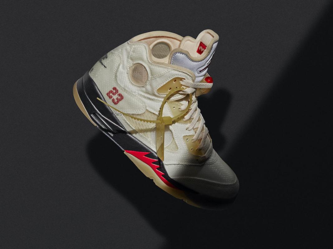 オフホワイト ナイキ コラボ エア ジョーダン 5 セイル Off-White Air Jordan 5 Sail Release Date DH8565-100 image main sneaker