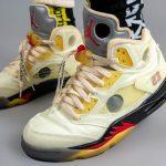 """オフホワイト × ナイキ エア ジョーダン 5 """"セイル"""" Off-White × Nike Air Jordan 5 """"Sail"""" DH8565-100 on-feet pair front"""
