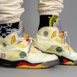 """オフホワイト × ナイキ エア ジョーダン 5 """"セイル"""" Off-White × Nike Air Jordan 5 """"Sail"""" DH8565-100 on-feet pair"""