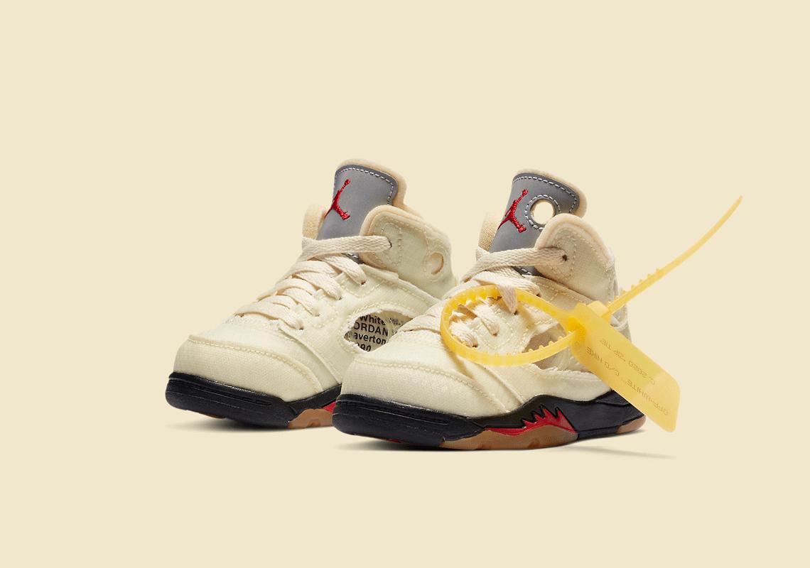 Off-White Nike Air Jordan 5 TD Sail CV4828-100 オフホワイト ナイキ コラボ エア ジョーダン 5 セイル トドラー キッズ pair main