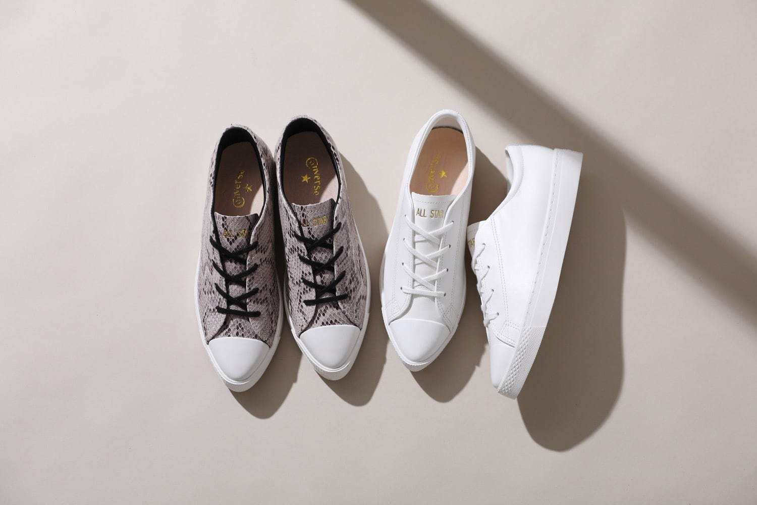 CONVERSE ALL STAR COUPE POINTUE LEATHER OX & SNK OX コンバース オールスター クップ ポワンテュ レザー OX & スネーク OX pair