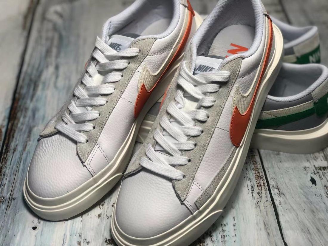 Sacai Nike Blazer Low サカイ ナイキ ブレーザー ロー orange front swoosh pair