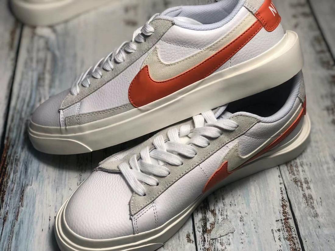 Sacai Nike Blazer Low サカイ ナイキ ブレーザー ロー orange side swoosh pair