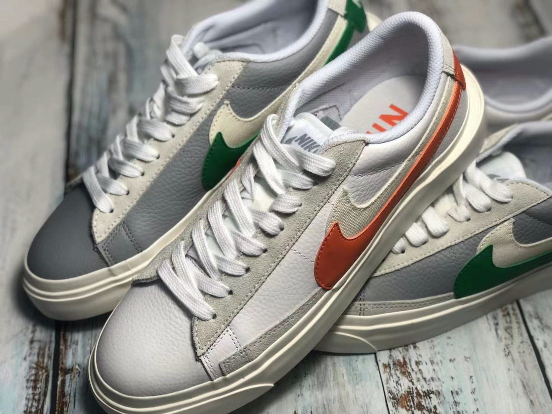 Sacai Nike Blazer Low サカイ ナイキ ブレーザー ロー green orange front pair