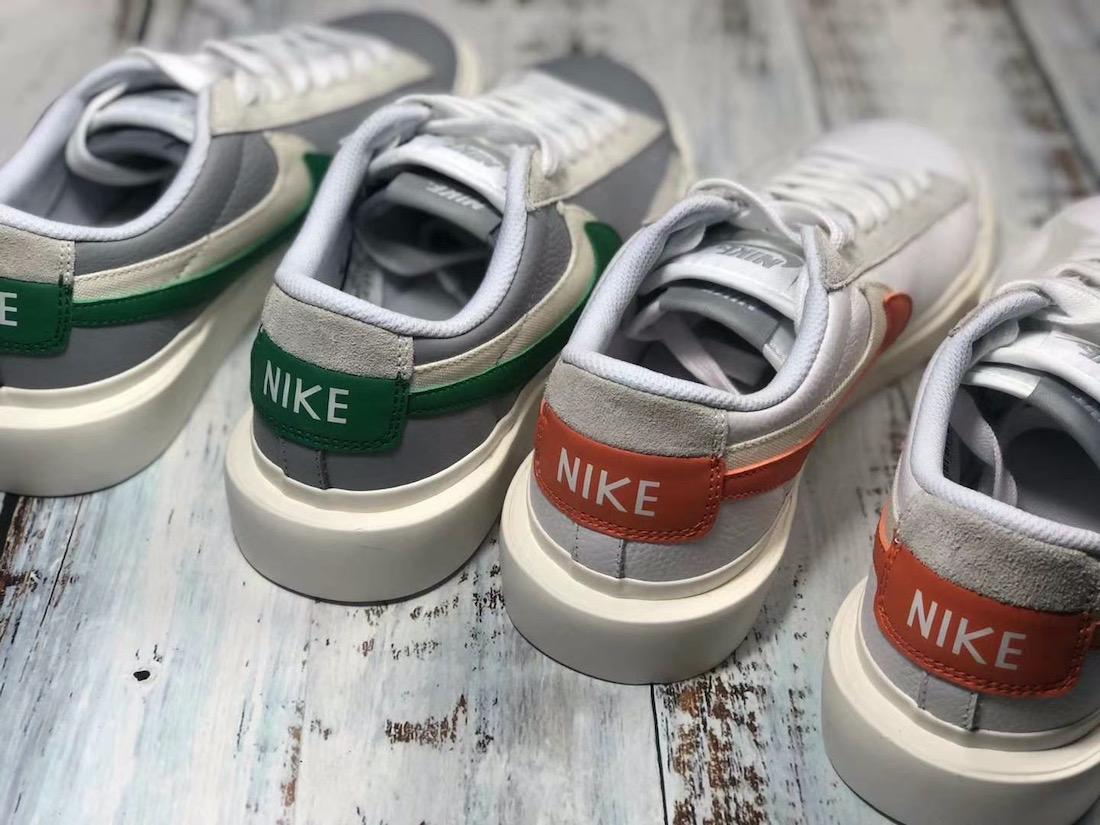 Sacai Nike Blazer Low サカイ ナイキ ブレーザー ロー green orange pair back