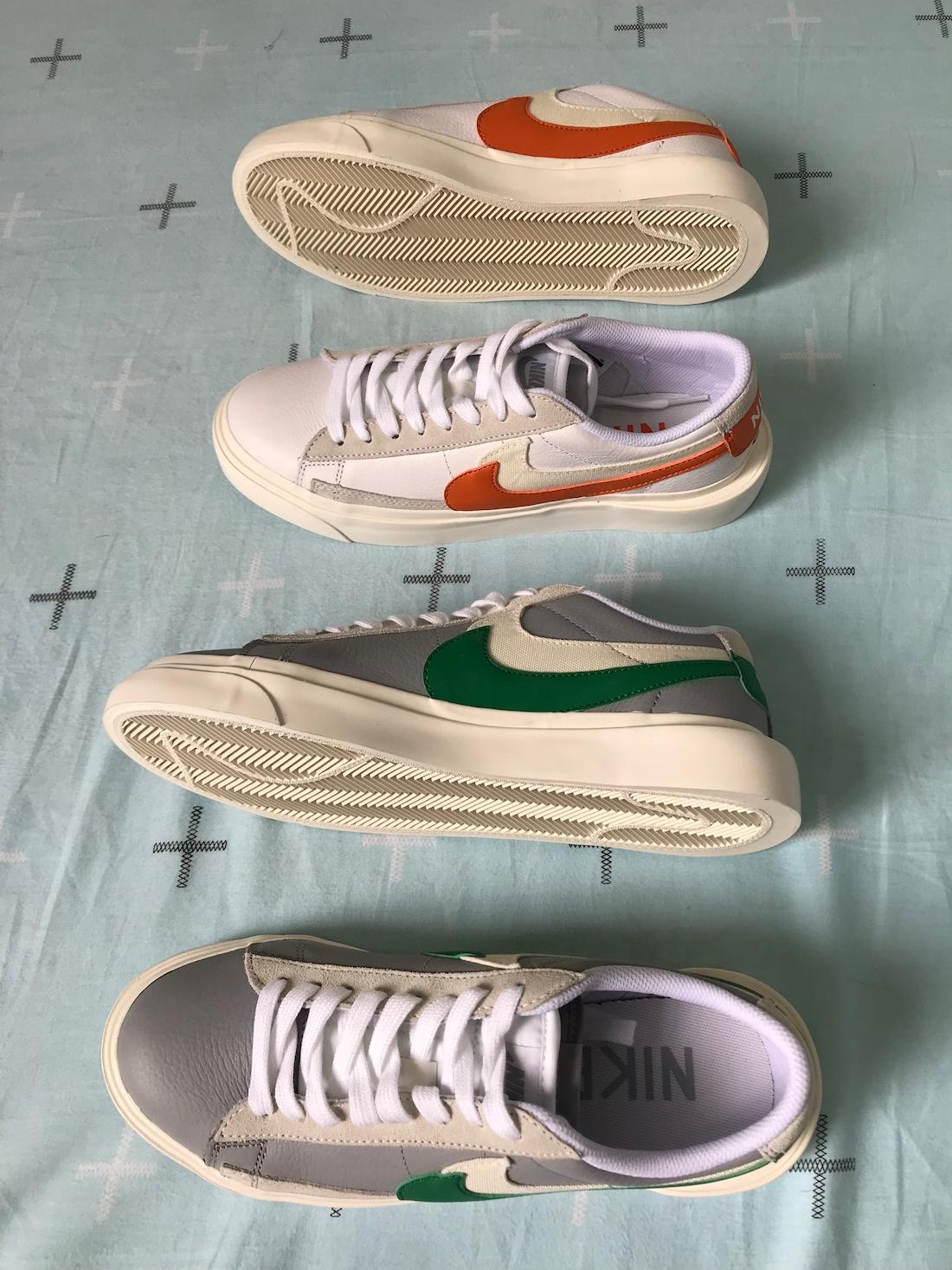 Sacai Nike Blazer Low サカイ ナイキ ブレーザー ロー green orange pair side top