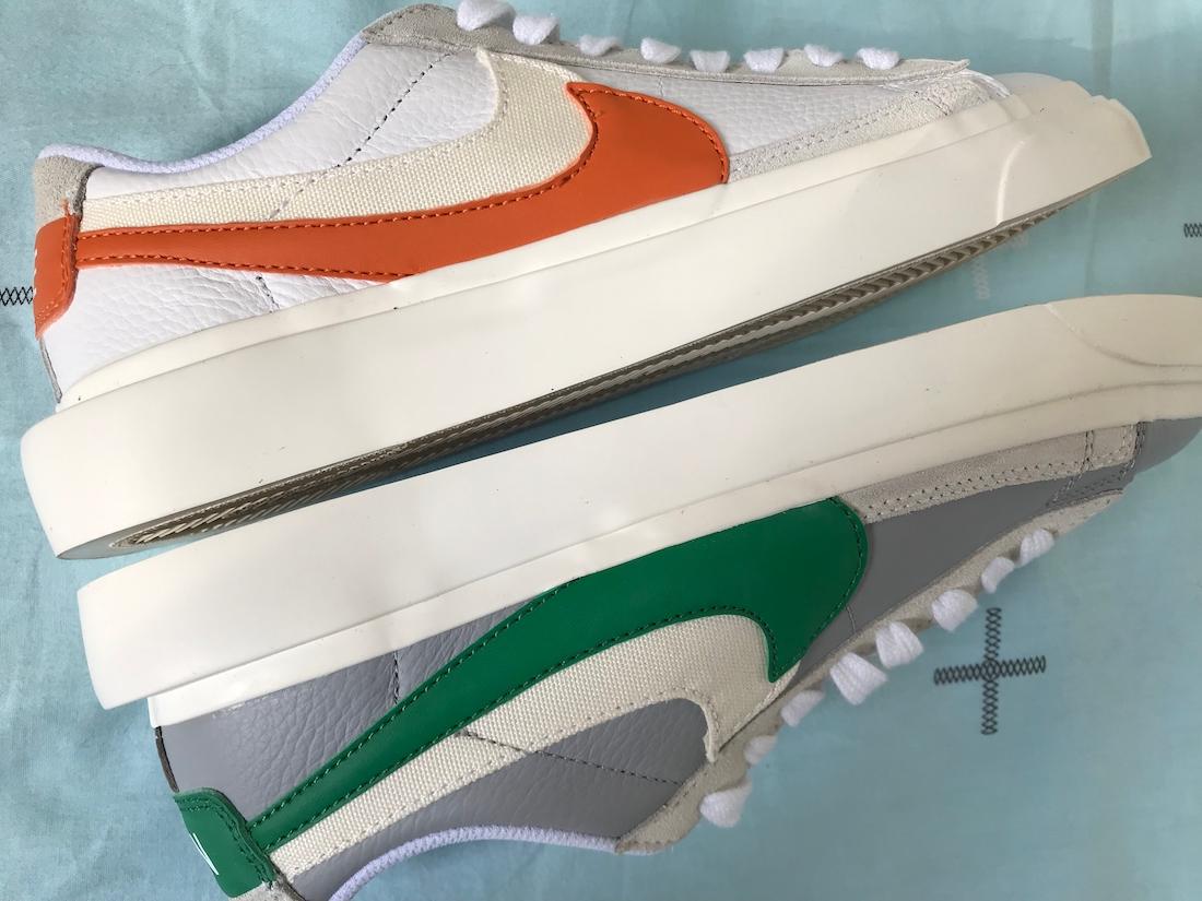 Sacai Nike Blazer Low サカイ ナイキ ブレーザー ロー green orange pair side