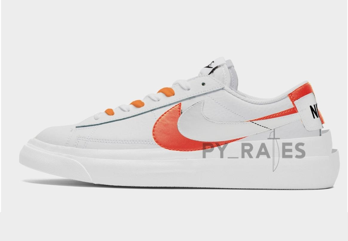 Sacai × Nike Blazer Low (サカイ × ナイキ ブレーザー ロー) Orange Mockup