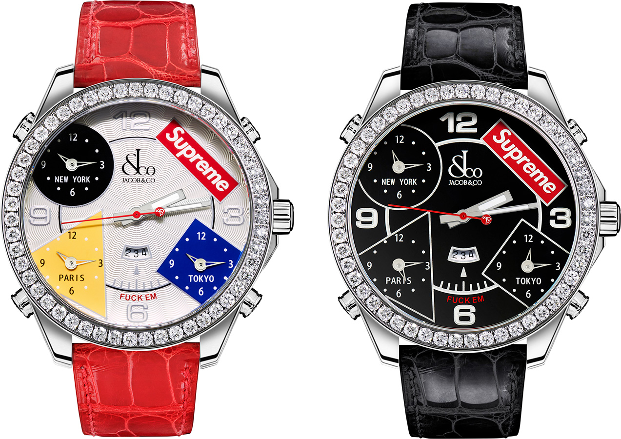 Supreme 2020fw Jacob & Co Time Zone 40mm and 47mm Watches シュプリーム コラボ 腕時計