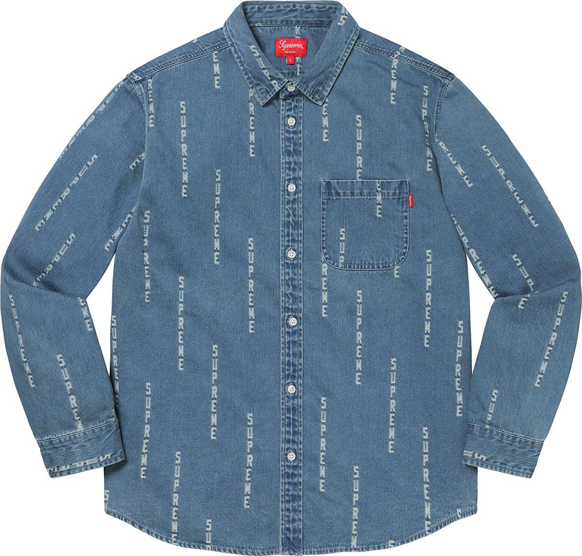 Supreme 2020fw Logo Stripe Jacquard Denim Shirt シュプリーム デニム シャツ ブルー