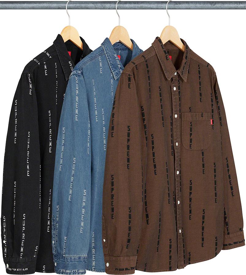 Supreme 2020fw Logo Stripe Jacquard Denim Shirt シュプリーム デニム シャツ