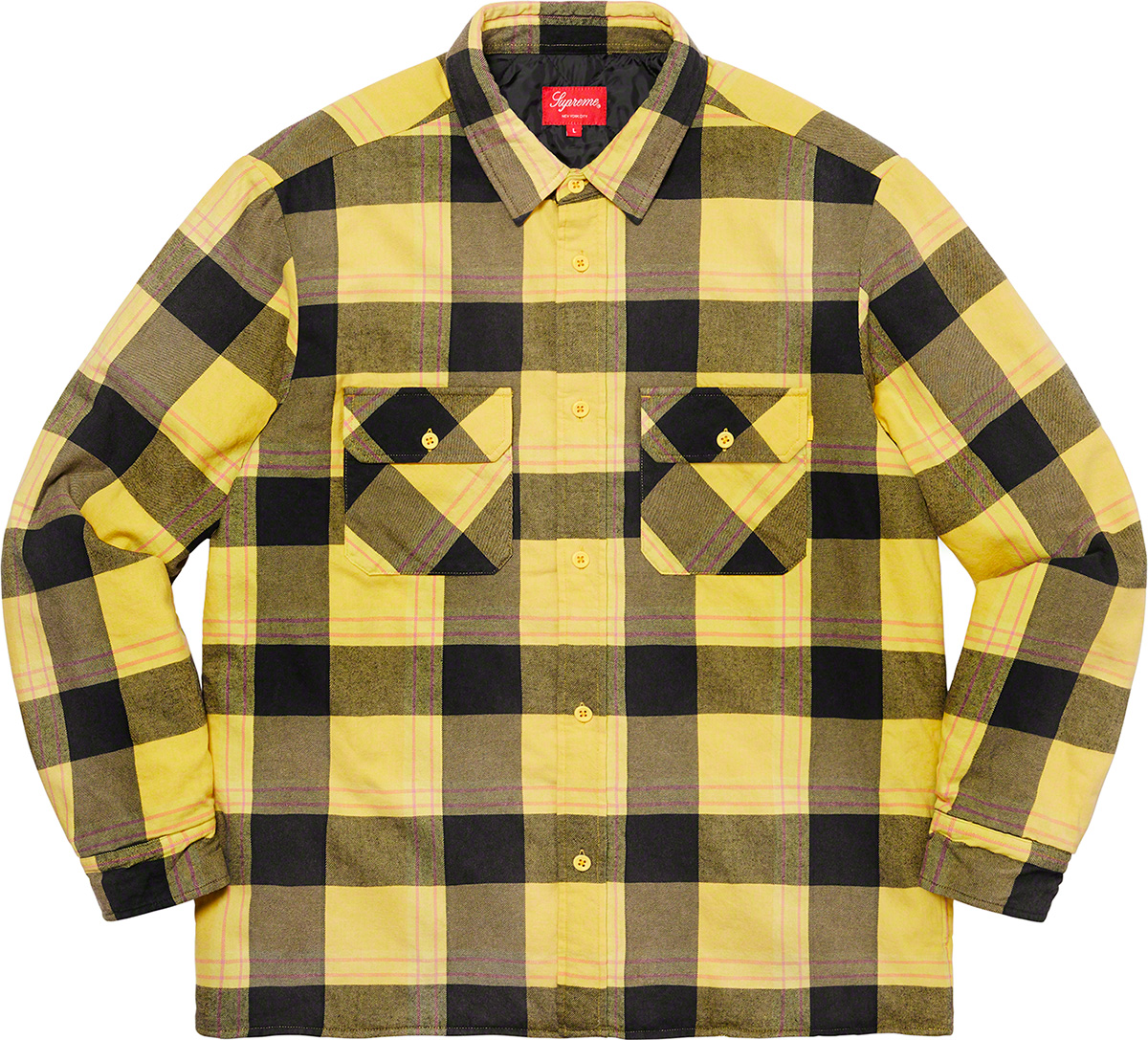 Supreme 2020fw Quilted Flannel Shirt シュプリーム キルテッド チェック シャツ イエロー 前