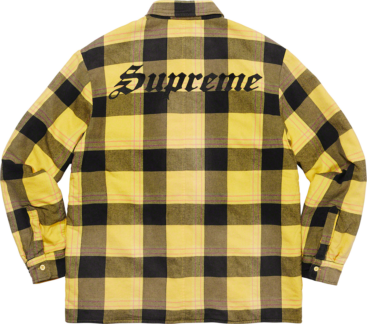 Supreme 2020fw Quilted Flannel Shirt シュプリーム キルテッド チェック シャツ イエロー 後ろ