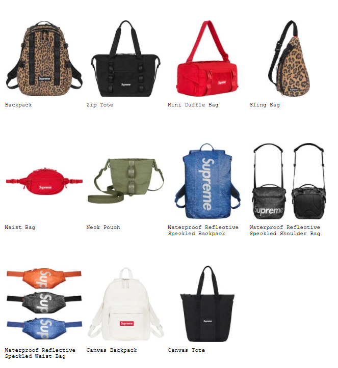 Supreme 2020fw collection bags シュプリーム 2020年秋冬 コレクション バッグ