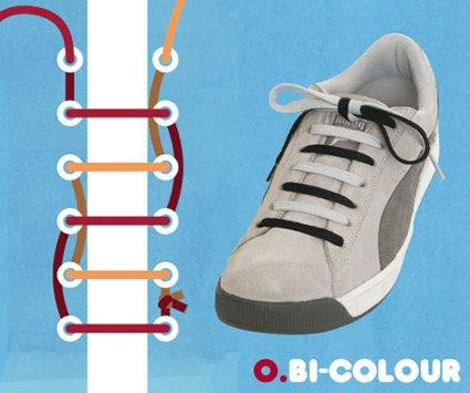 way to tie shoe laces single 靴紐 結び方 2色結び バイカラー