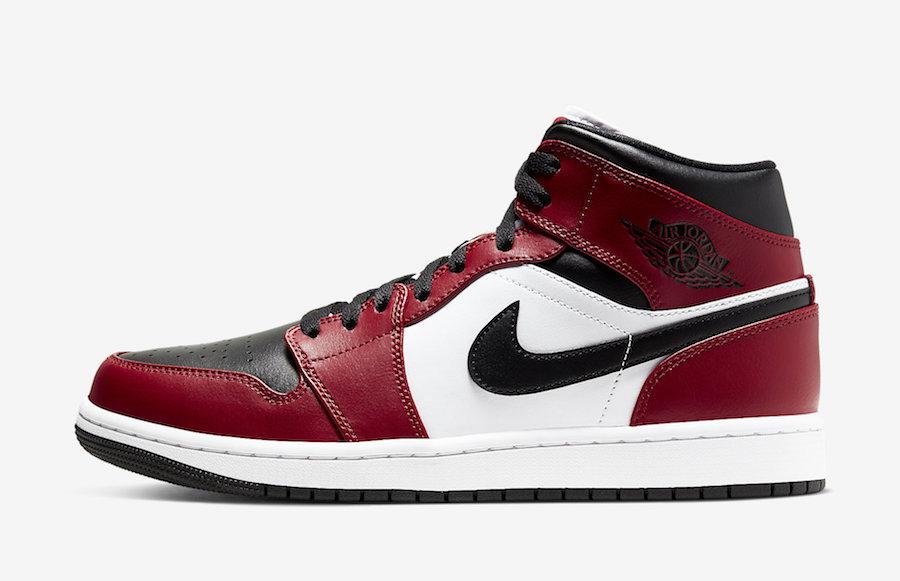 ナイキ エア ジョーダン 1 ミッド シカゴ ブラック トゥ つま黒 Nike-Air-Jordan-1-Mid-Chicago-Black-Toe-554724-069
