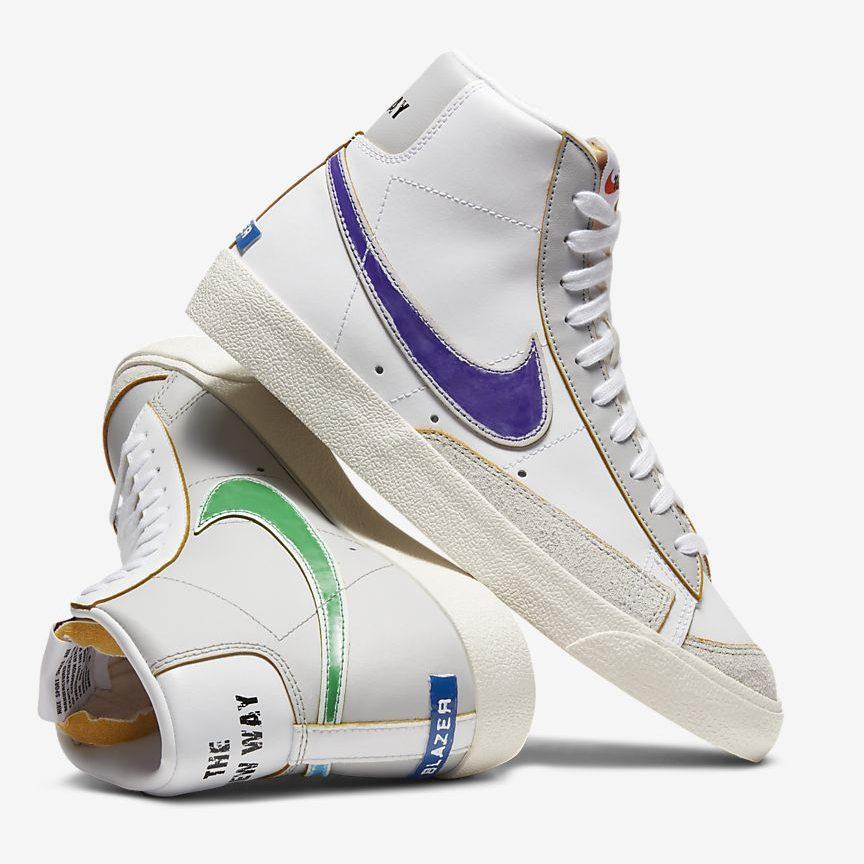 ナイキ-ブレーザー-mid-77-Nike Blazer Mid 77 Vintage DC5203-100 pair purple green