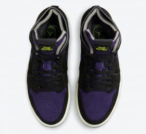 """ナイキ エア ジョーダン 1 ハイ ズーム WMNS """"レモン ヴェナム """" Air-Jordan-1-High-Zoom-Black-Court-Purple-Lemon-Venom-CT0979-001-top"""