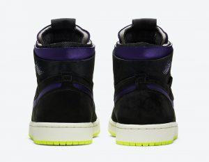 """ナイキ エア ジョーダン 1 ハイ ズーム WMNS """"レモン ヴェナム """" Air-Jordan-1-High-Zoom-Black-Court-Purple-Lemon-Venom-CT0979-001-pair-heel"""
