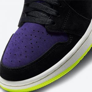"""ナイキ エア ジョーダン 1 ハイ ズーム WMNS """"レモン ヴェナム """" Air-Jordan-1-High-Zoom-Black-Court-Purple-Lemon-Venom-CT0979-001-toe-closeup"""