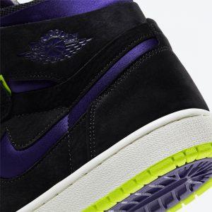 """ナイキ エア ジョーダン 1 ハイ ズーム WMNS """"レモン ヴェナム """" Air-Jordan-1-High-Zoom-Black-Court-Purple-Lemon-Venom-CT0979-001-heel-closeup"""