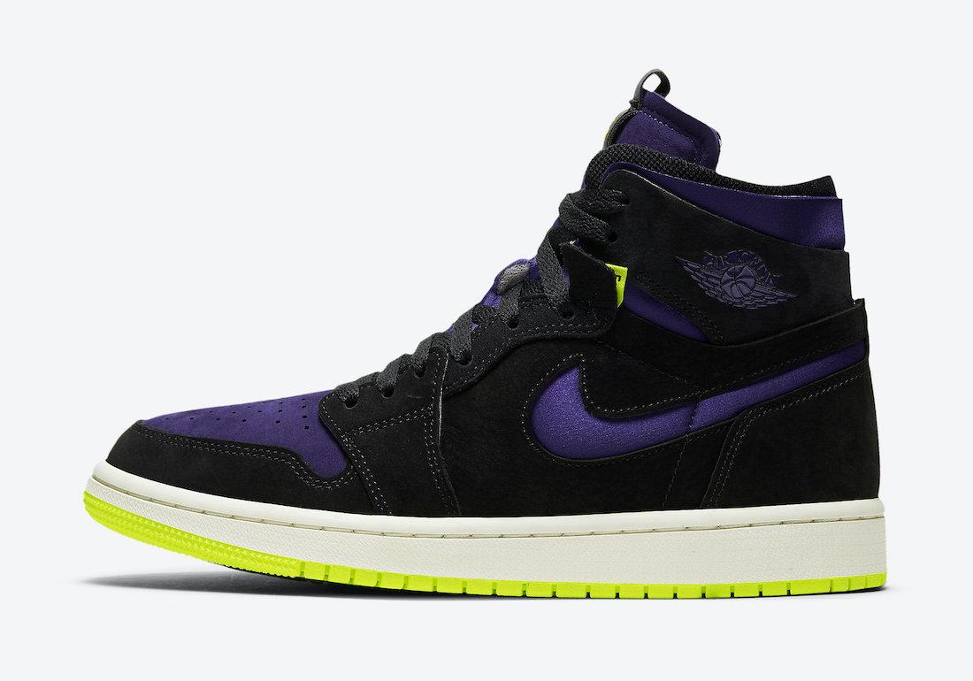 """ナイキ エア ジョーダン 1 ハイ ズーム WMNS """"レモン ヴェナム """" Air-Jordan-1-High-Zoom-Black-Court-Purple-Lemon-Venom-CT0979-001-side2"""