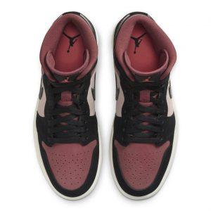 """ナイキ エア ジョーダン 1 ミッド """"バーガンディ/ ダスティピンク"""" Nike-Air-Jordan-1-WMNS-Dusty-Pink-Burgundy-top"""