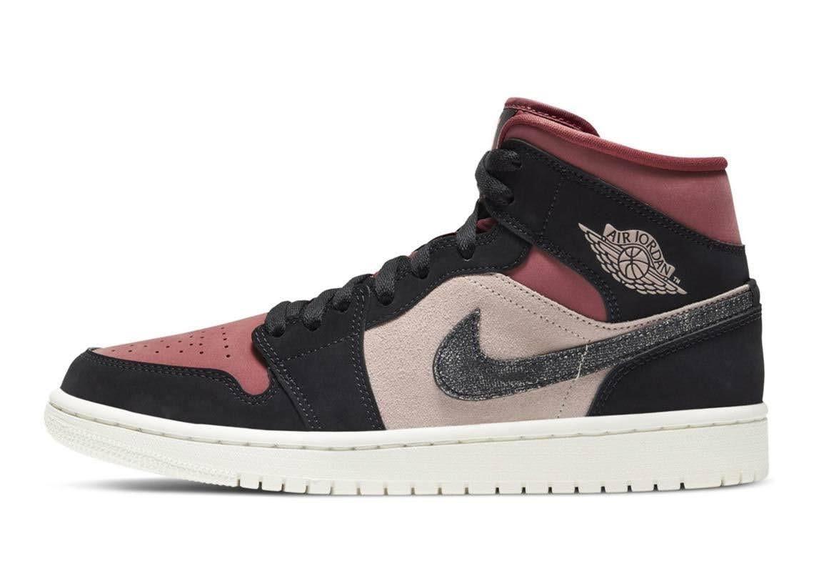 """ナイキ エア ジョーダン 1 ミッド """"バーガンディ/ ダスティピンク"""" Nike-Air-Jordan-1-WMNS-Dusty-Pink-Burgundy-side2"""