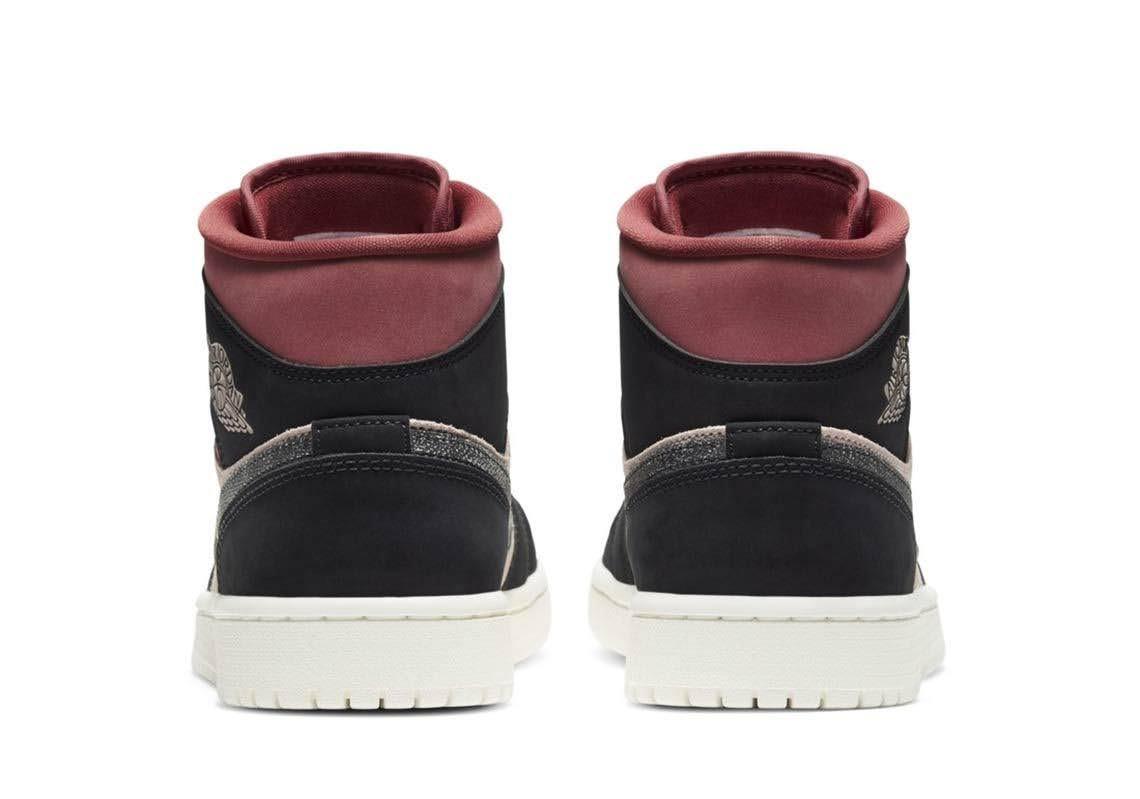 """ナイキ エア ジョーダン 1 ミッド """"バーガンディ/ ダスティピンク"""" Nike-Air-Jordan-1-WMNS-Dusty-Pink-Burgundy-heel"""