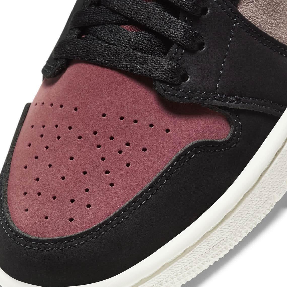 """ナイキ エア ジョーダン 1 ミッド """"バーガンディ/ ダスティピンク"""" Nike-Air-Jordan-1-WMNS-Dusty-Pink-Burgundy-toe-closeup"""