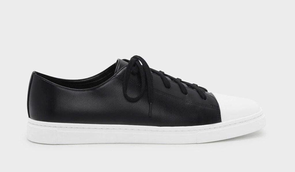 チャールズ & キース スニーカー スクエアトゥ ブラック Charles & Keith Squere Toe Sneakers Black White