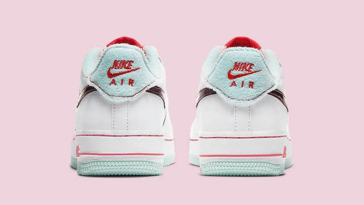 ナイキ エア フォース 1 ホワイト フラッシュ クリムゾン アトミック ピンク Nike Air Force 1 07 LV8 White Flash Crimson Atomic Pink DD7709-100 back logo