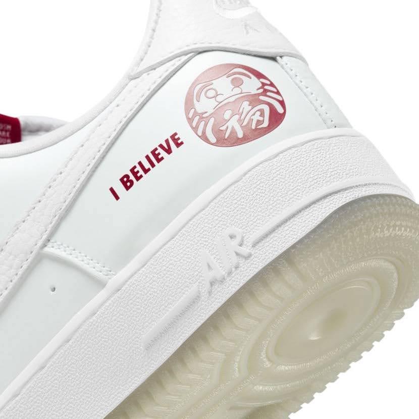 ナイキ エア フォース 1 ロー アイ ビリーブ 達磨 Nike-Air-Force-1-Low-I-Believe-DARUMA-heel-closeup