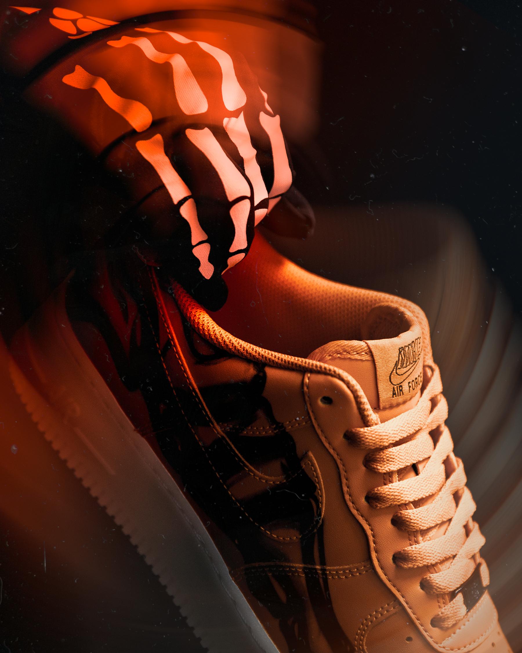 ナイキ エア フォース 1 オレンジ スケルトン ハロウィン 2020年 Nike Air Force 1 Orange Skeleton Halloween 2020 image