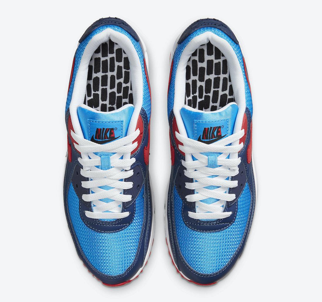 ナイキ シューメーカー パック Nike-Air-Max-90-Photo-Blue-University-Red-CT1687-400-top