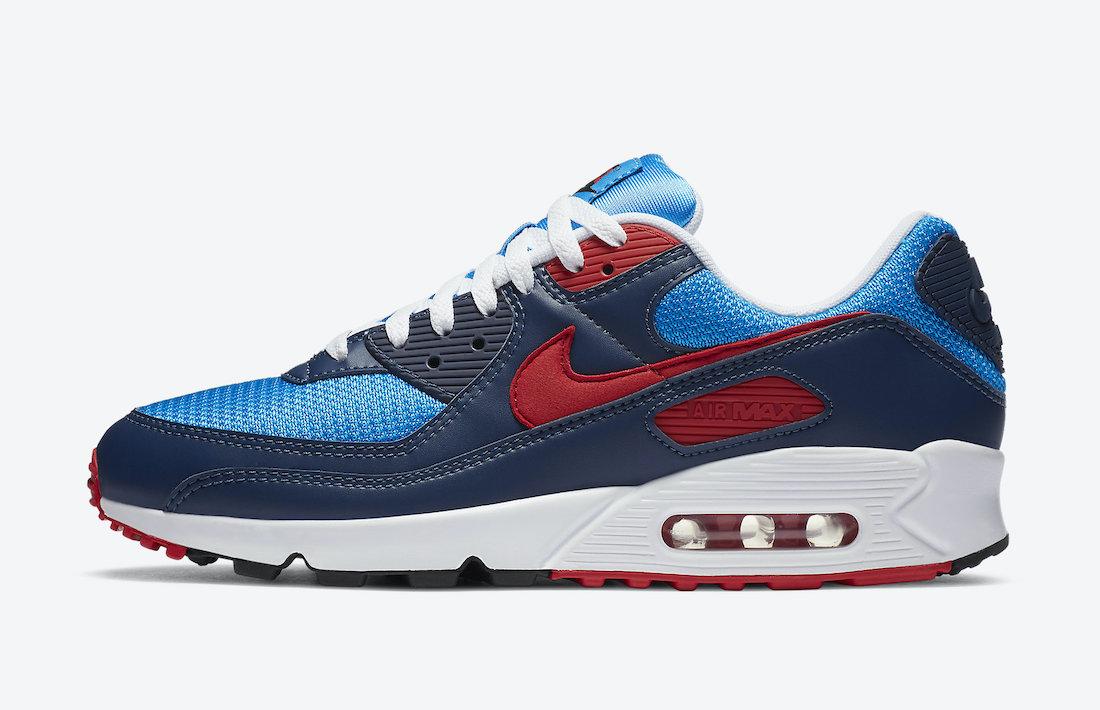ナイキ シューメーカー パック Nike-Air-Max-90-Photo-Blue-University-Red-CT1687-400-side