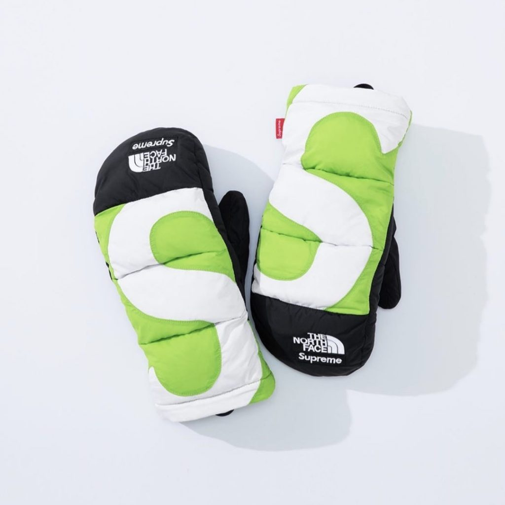 シュプリーム ザ・ノースフェイス コラボ 2020年 秋冬 新作 Supreme 2020fw week 10 The North Face S Logo Nuptse Mitts green