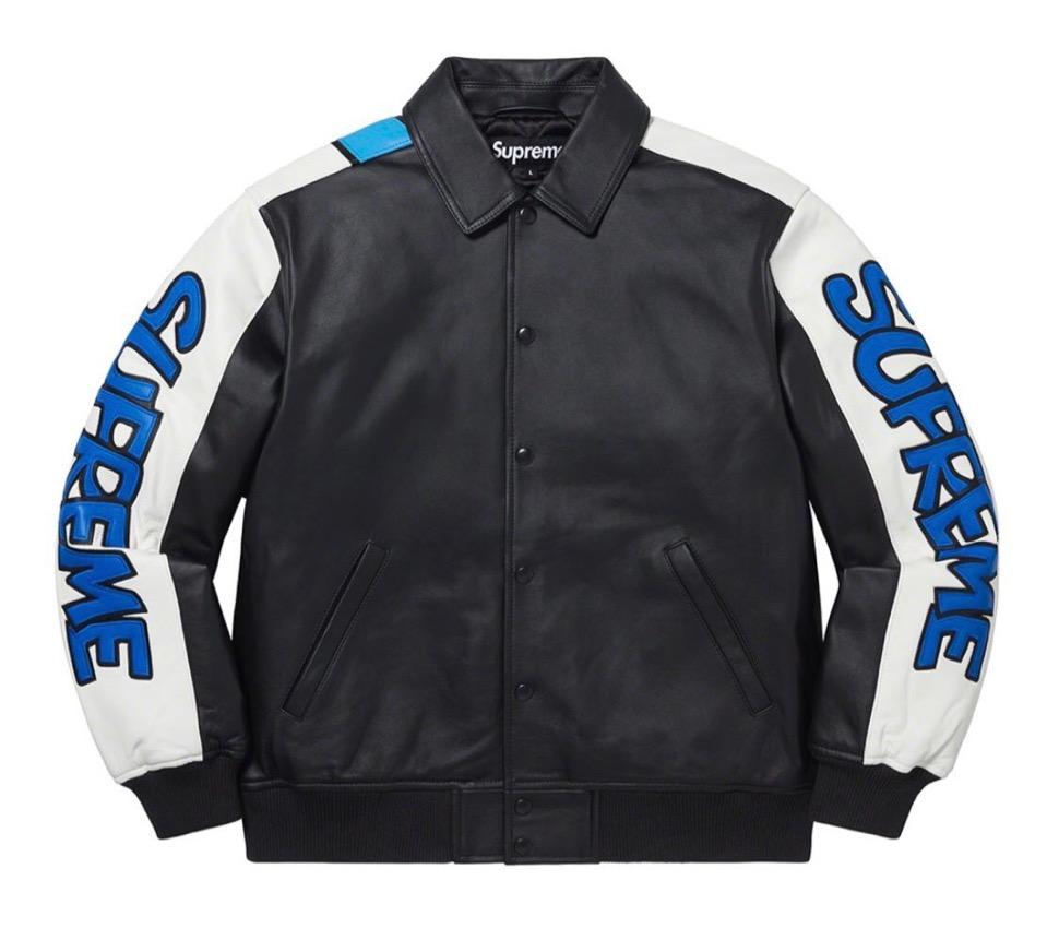 Supreme 2020fw week6 Supreme Smurfs Lether Varsity Jacket シュプリーム スマーフ コラボ 2020年 秋冬 レザー ジャケット