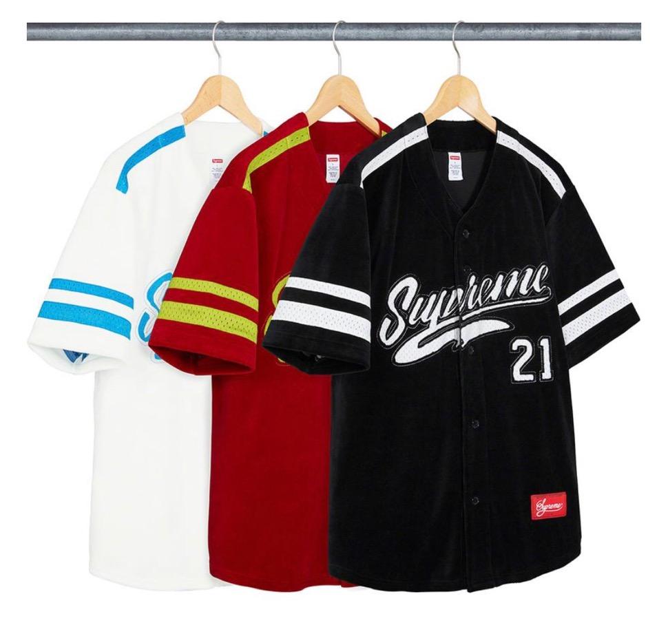 Supreme 2020fw week6 Velour Baseball Jersey シュプリーム 2020年 秋冬 バスケットボール ジャージー