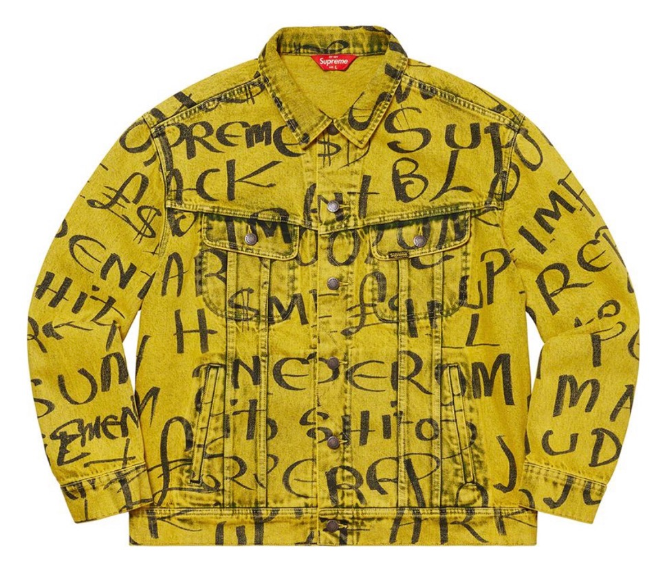 シュプリーム ブラック デニム トラッカー ジャケット Supreme 2020fw week8 Black Ark Denim Trucker Jacket yellow