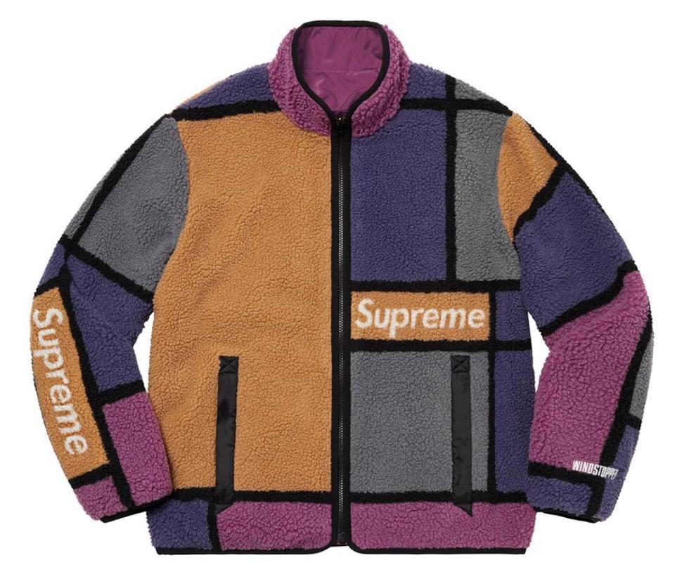 シュプリーム リバーシブル カラーブロック フリース ジャケット Supreme 2020fw week8 Reversible Colorblocked Fleece Jacket purple