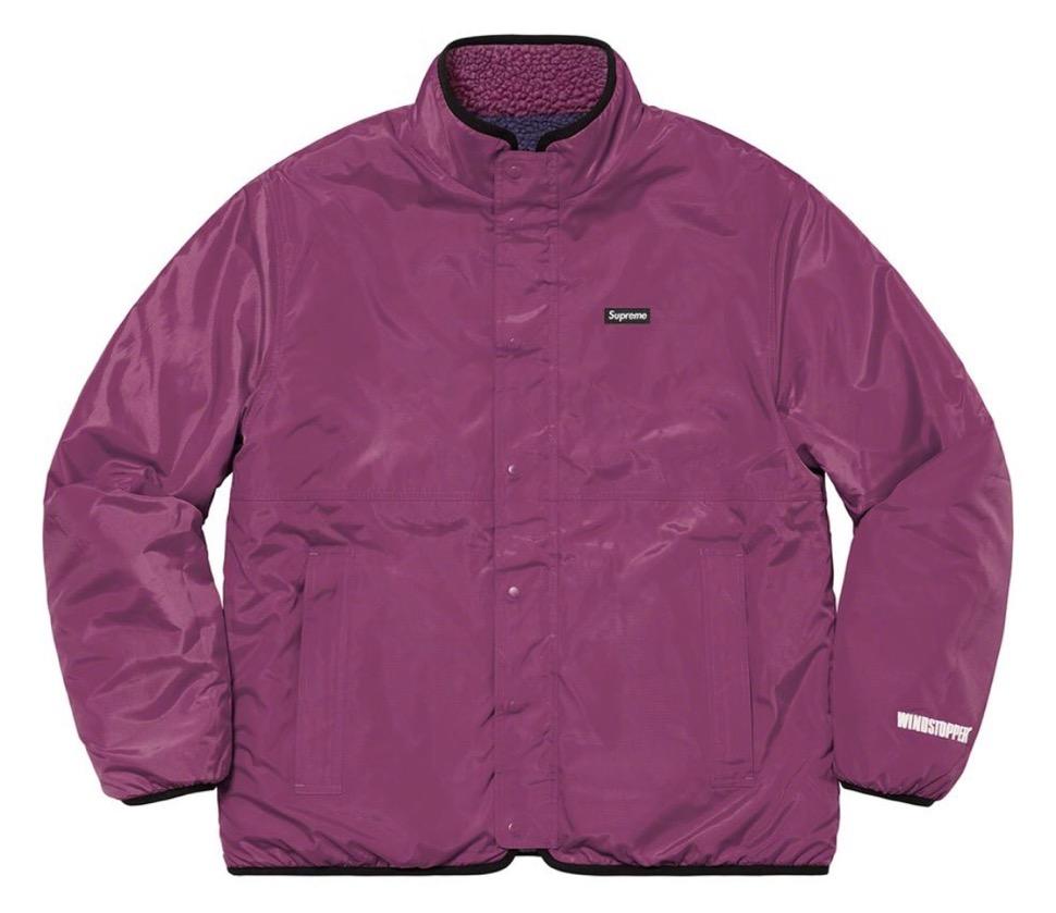 シュプリーム リバーシブル カラーブロック フリース ジャケット Supreme 2020fw week8 Reversible Colorblocked Fleece Jacket purple back